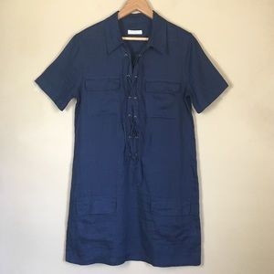 Equipment Femme Dress S Linen Navy Blue Lace-Up